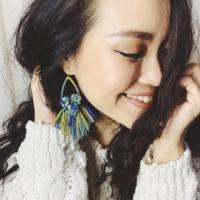 Pom pom macrame earrings tassel rumbai anting drop boho bohemian unik