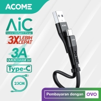 Acome Data Cable Type C Fast Charging 3A 23cm ADC023 Garansi 1 Tahun