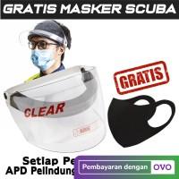 Apd Face Shield CLEAR / Pelindung Wajah Bisa Buka Tutup + Masker Scuba