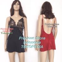 Lingerie Seksi Silk Satin Sexy Lingeri Dress Sexi Brukat 2159 Import