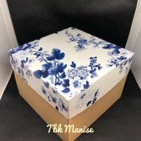 Box Kue Blue Flower 25x25x18cm / Kardus Kue / Kotak Kue / Cake Box