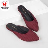 Guzzini FB 179 Maroon - Sandal Mules Kain Rajut wanita Fashion