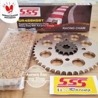 Girset - Gear Set SSS 428 Honda New CB 150R Fi Led + Rantai HSBT Gold
