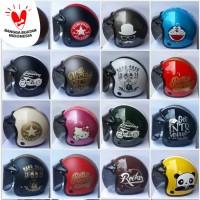 helm retro bogo motif dan karakter