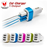 Car charger 3 usb adaptor lighter mobil