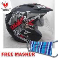 Helm DMN 2 kaca double visor Duke Black doff red