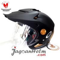 CARGLOSS Helm FORMER TEXT   Black DOFF - GOLD   Half Face CARGLOS