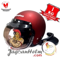 CARGLOSS HELM RETRO ARMY | RED DOFF VISOR CLEAR - SMOKE | MODEL BOGO