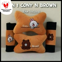 Bantal Mobil Set 2in1 Line Brown Cony / Headrest Car Set 2 in 1 Line