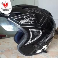 Helm DMN 2 kaca double visor moto gp black doff abu - Merah, Ukuran L