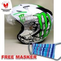 Helm Helmet Helem double visor BXP motif monster Putih Hijau
