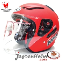 NHK Helm R1 | RED DOFF - SOLID | R-1 HalfFace Double Visor