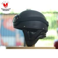 Helm Bogo - Helm Chip Kacamata Goggle- Hitam