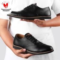 Sepatu Formal Pantofel Kerja Pria Kulit - OXFORD BLACK - Monday