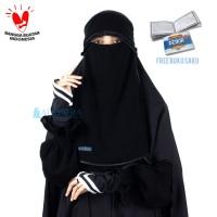 Niqab Poni Hijrah 2 Layer Sifon Jetblack Bisban Hitam Alsyahra