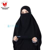Niqab Poni Kancing Raudhah Sifon Jetblack Alsyahra Exclusive