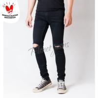 Celana jeans skinny pria ripped knee sobek / robek lutut skiny hitam