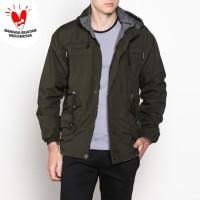 VM Jaket parka Bolak Balik Hijau Army - Jaket Fashion Parasut Fleece