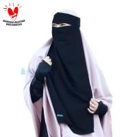 Alsyahra Long Niqab Bandana Eagle Eyes Al Haramain Jetblack Ekslusif