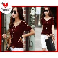 [V neck Karen Marun CL] blouse wanita spandex maroon