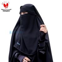 Niqab Yaman Flap Poni Alsyahra Exclusive Chiffon Silk Arab Jetblack