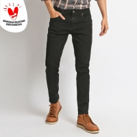 VENGOZ Celana Jeans Skinny Pria - Solid Black