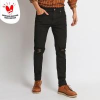 VENGOZ Celana Jeans Skinny Pria - Black Ripped - Hitam,29