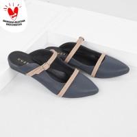 Guzzini FB 188 Navy Blue - Sandal Sepatu Mules Flat Wanita