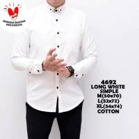 Kemeja Polos Putih Pria Simple / Baju Pakaian Slimfit katun White