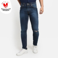 VENGOZ Celana Jeans Pria Slim Fit - Ripped Blue