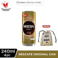 NESCAFE Original Kaleng 240ml 4 Pcs Gratis Pouch