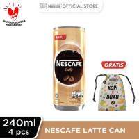 NESCAFE Latte Kaleng 240ml 4 Pcs Gratis Pouch