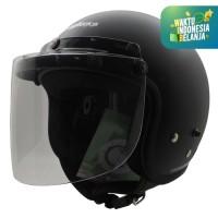 [ Paket ] Helm Retro Half Face Black Doff + Visor Bogo Flat Clear