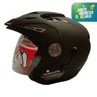 Helm half Face JGR Solid Black Doff Size L