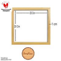 Simple wood frame 21x21x1cm mirror photo frame rangka kayu bingkai