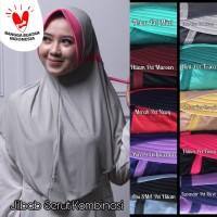 Jilbab Kombinasi / Hijab Serut/ Khimar 2 Tone Instan Grosir Terlaris
