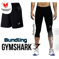 Celana sport gymshark + leging Training gym olahraga manset baselayer