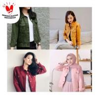 Jaket jeans cewe denim model crop - baby pink, army, maroon , mustard