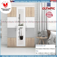 Lemari Navaro Olympic 3 Pintu Cermin Minimalis