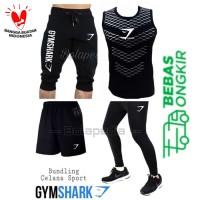 4in1- BUNDLING GYMSHARK Stelan Baju olahraga kaos running gym training