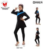 Baju renang anak muslimah SD 6-10 th cewek muslim polos - M, Biru