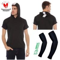 2++ HOODIE STRIPE + ARM SLEEVE setelan pakaian sepeda kaos baju gowes