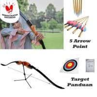 Paket Busur Panah Anak dan Pemula + 5 Anak Panah Point + Target