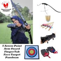 Paket Busur Panah + 5 Arrow Point + Arm Guard + Finger Tab + Target