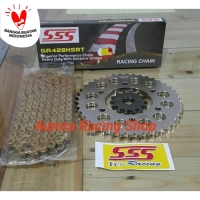 Gear Set SSS 428 Yamaha Scorpio & Rantai SSS HSBT Gold