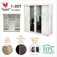 Lemari Pakaian HPL Sliding 4 Pintu Putih Glossy+kaca 2 Pintu LPS-402