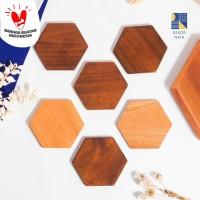 Hexagon Wood Coaster / Tatakan Hexagon Kayu / Alas Gelas/Cangkir