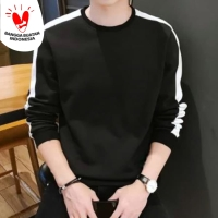 SWEATER STRIPE -Baju Kaos distro polos pria shoulder list casual korea