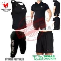4in1- BUNDLING UA- Stelan Baju olahraga kaos running gym training pria