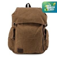 Urban State - Canvas PU Pocket Flap Backpack - Brown